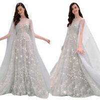 Women Sheer Off Shoulder Sleeveless Bridal Dress Cocktail Wedding Prom Ball Gown