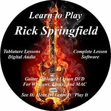 Rick Springfield 34 Guitar TABS Lesson CD + 2 Backing Tracks + BONUS!