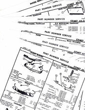 1960 1961 1962 MERCURY COMET SEDAN WAGON BODY PARTS LIST NUMBERS CRASH SHEETS!