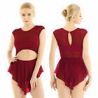 Women Adult Cut Out Ballet Gymnastic Leotard dress Bodysuit Dancewear Mesh Skirt