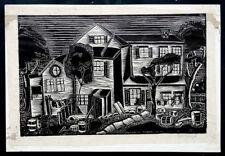 Vintage JACK MARKFIELD Signed FORDHAM Bronx NEW YORK Modern Art WOODCUT PRINT