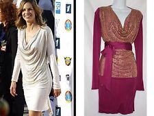 NWT BodyAMR Runway 100% SILK Cranberry with Gold Crystal Front 4 Way Dress S