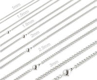 """One Day Ship 16""""-32"""" Womens Stainless Steel Thin Small Curb Chains Necklaces"""