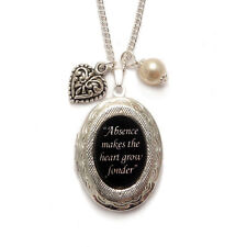 Victorian locket charm necklace ABSENCE MAKES THE HEART love goth gothic