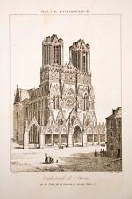 France pittoresque, gravure vers 1850, cathedrale de Rheims, REIMS, Marne