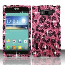 LG Splendor US730 Crystal Diamond BLING Hard Case Phone Cover Hot Pink Leopard