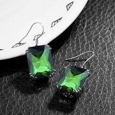Sterling Silver Emerald Dangle Hook Earrings Vintage Style Birthstone Jewelry