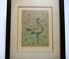 Mid Century Signed Woodblock of Birds by Honolulu Artist Hiroshi Kabe 1970