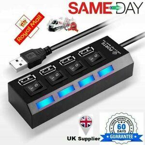 High Speed 4 Multi Port 2.0 Fast Quick Adapter Splitter Desktop Laptop USB Hub
