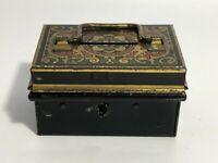 Vtg Mini Treasure Chest Small Trunk Box Metal Decor Trinket Storage English Make