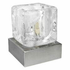 Long Life Lamp Company M0112 240V G9 Ambient Glass Ice Cube Touch Dimmable Table Lamp with Chrome Brushed Satin Base