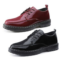 Men's Bright Wedding Dress Leather Wedge Casual Shoes Lace Up Round Toe  *