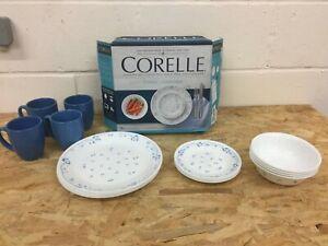 Corelle 16-Piece Vitrelle Glass Provincial Blue Chip and Break Resistant Dinner