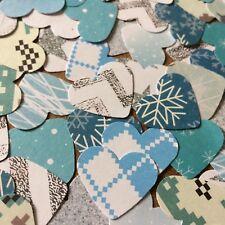 100 Heart embellishments christmas card making scrapbooking crafts mix blue grey