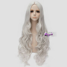 Silver White Long Curly Wig for Shining Hearts Melty Granite Anime Cosplay Wig