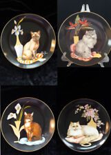 4 Collector Plates Cats Sophisticated Ladies Series Reco Artist Aldo Fazio China