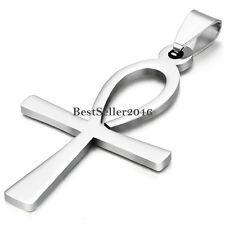 Men Women Ankh Cross Egyptian Symbol Of Life Stainless Steel Pendant Necklace