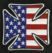 Iron Cross USA American Flag Motorcycle Biker Leather Jacket Military Patch