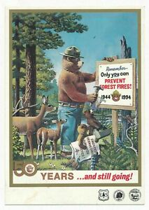 Smokey Bear, Only You Can Prevent Forest Fires! 50 Year Anniversary Postcard