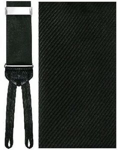Black Diagonal Silk Suspenders with Silver Hardware and Woven Ends