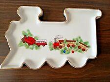 Vintage Train-shaped Sweets Dish White Gold Trim Christmas Toy Train Porcelain