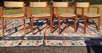 Mid Century Modern D-Scan Teak Office or Dining Chairs w/ Armrests - Set of 4