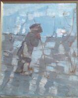 peinture Russe representant le berger ou fermier au champ daté 1989 . XXsiècle .