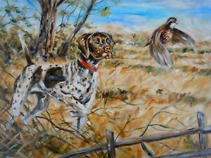 Original Hunting Dog and Bird American painting limited edition canvas print