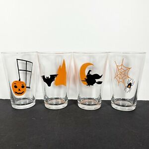 Libbey Halloween Drinking Glass Tumbler Set Spider Pumpkin Witch Bat Vintage