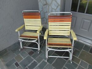 Set of 2 Tube Aluminum Folding Chair Lawn Beach ROCKING