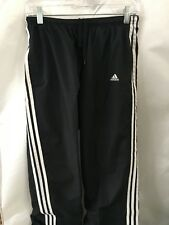 Adidas Size Medium Long Black Polyester Wok Out Pants With White Stripe #182