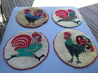 Vintage Wool Hooked Round Chair Pads w/Roosters Running/Standing Set of 4