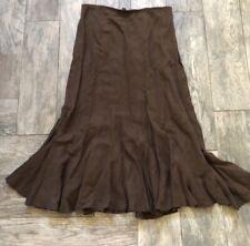 J. Jill Brown Silk Linen Blend Maxi Skirt Size Small