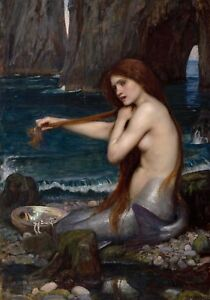 A Mermaid by John William Waterhouse, Giclee Canvas Print, in various sizes