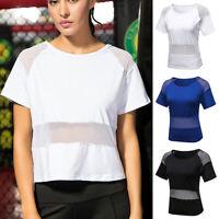Womens Short Sleeve Mesh Sport T Shirt Tops Gym Yoga Fitness Running Workout Tee