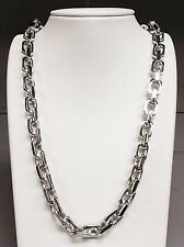 "18k Solid White Gold Handmade Link Men's chain/necklace 22""  265 grams 10.5MM"