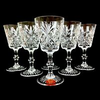 Fine Hand Cut Windsor Lead Crystal 5 Wine Glasses Stemware - NEW +1 small defect
