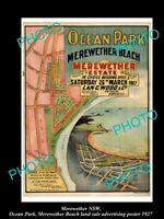 OLD 8x6 HISTORICAL LAND SALE ADVERTISING POSTER MEREWETHER BEACH NSW c1927