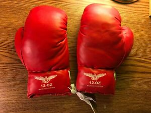12 oz Boxing Gloves Made in Pakistan Red White Sport Fitness Mens Woman's Kids