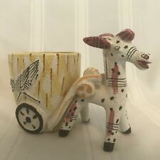 """Vintage Donkey Pulling Cart Figurine Whimical Bird Pink Yellow 4.5"""" tall S15"""