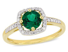 4/5 Quilates (Ctw) Criado Esmeralda Anel Ouro Amarelo 10K Com Diamantes