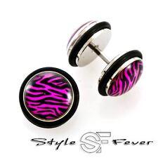 ca. 30 Stück Restposten Fake Plug Piercing Zebra Tiger Ear Cheater Ohrringe