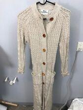 DAWN International VTG Womens Ivory Knit Button Up Sweater Dress SZ Small Long