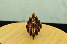 18K YELLOW GOLD TIGER'S EYE & PINK RUBY COCKTAIL RING BAND SIZE 7.75