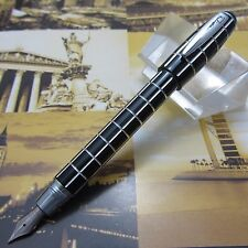 Fuliwen BLACK and Silver Line Fountain Pen Resin Pen Fine Nib with Gift Box