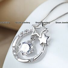Xmas Gifts for her Women Girl Moon & Star Silver Necklace Diamond Pendant RF1