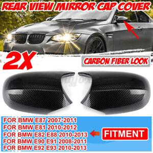 M3 Style Side Mirror Cover Caps For BMW E82 E87 E90 E92 E93 PRE-LCI Carbon Look