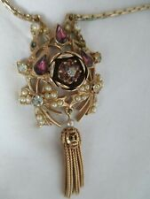 Vintage Trembler Pendant Necklace Amethyst Rhinestones Faux Seed Pearls