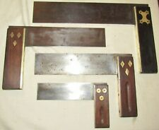 4 Old wooden & metal try squares old woodworking tools square tool