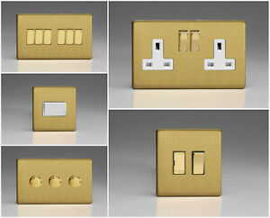 Varilight Screwless Brushed Brass Range - White Inserts & Brass Switches